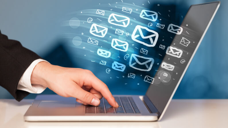 email marketing concept millions email